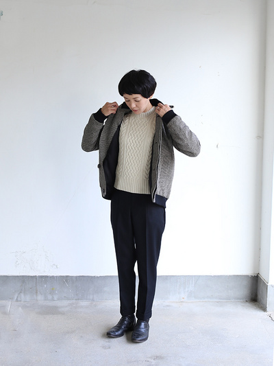 Fly front blouson~hound's tooth check rever 2