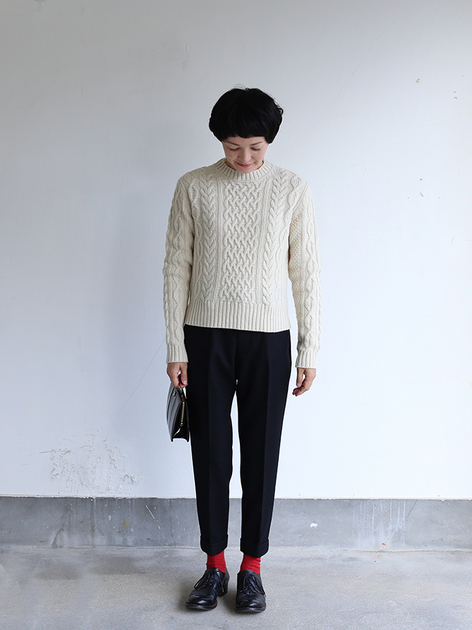 Aran sweater / New tapered pants~wool 2