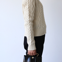 Aran sweater / New tapered pants~wool