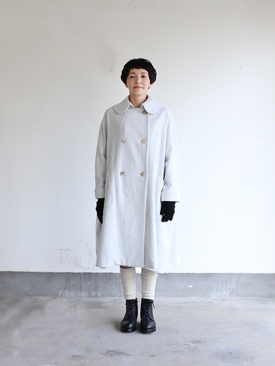 Small collar balloon coat~wool 2
