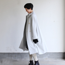 Small collar balloon coat~wool