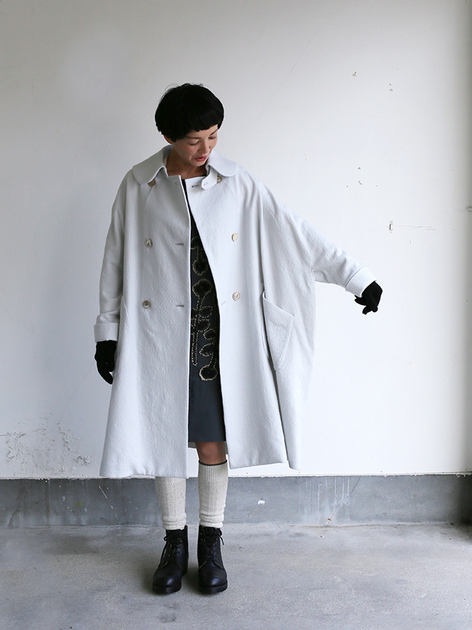 Small collar balloon coat~wool 3