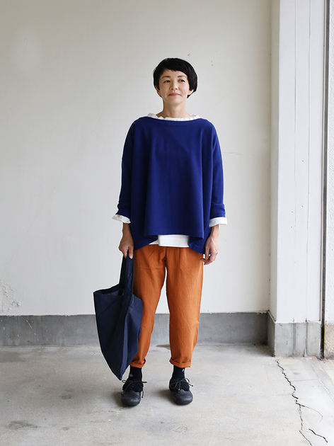 Tent line blouse / Stand collar box shirt 2
