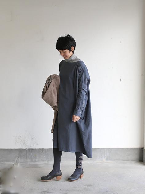 Boat neck long dress~cotton angora 2