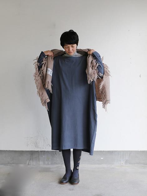Boat neck long dress~cotton angora 3