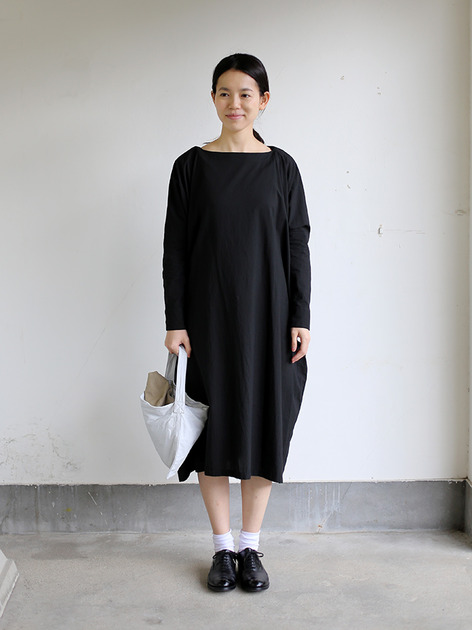 Boat neck long dress~cotton 2