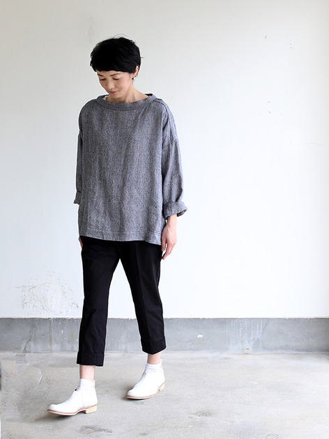 Men's stand collar box shirt~linen silk 2