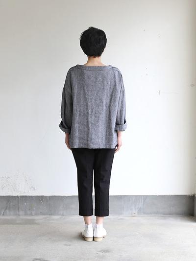 Men's stand collar box shirt~linen silk 4