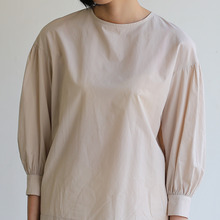 Round cuff blouse~cotton