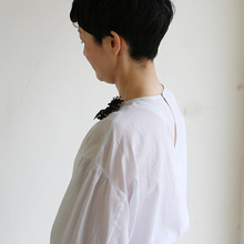 Round cuff blouse~silk cotton