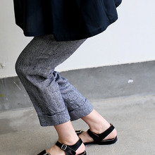 Draw string easy tapered pants~linen silk