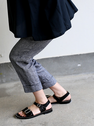 Draw string easy tapered pants~linen silk 1