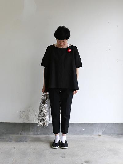 Short sleeve tent line blouse~hemp 1