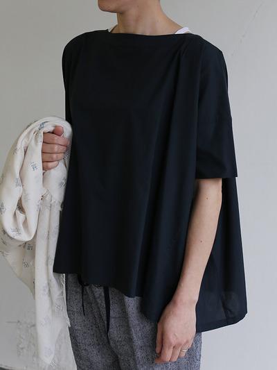 Short sleeve tent line blouse~natural dye cotton 1