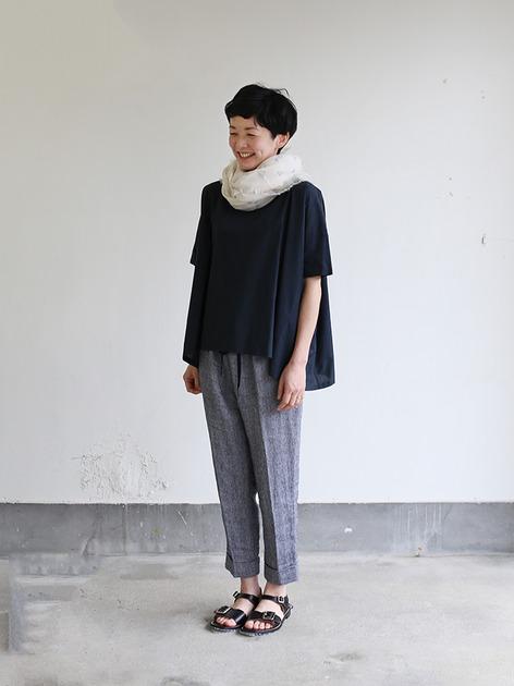Short sleeve tent line blouse~natural dye cotton 2