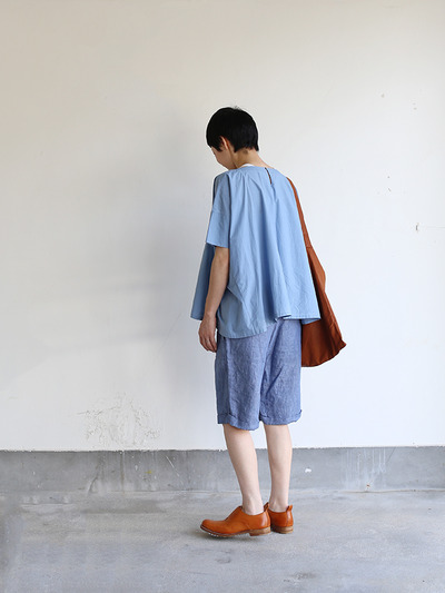 Short sleeve tent line blouse~natural dye cotton 3