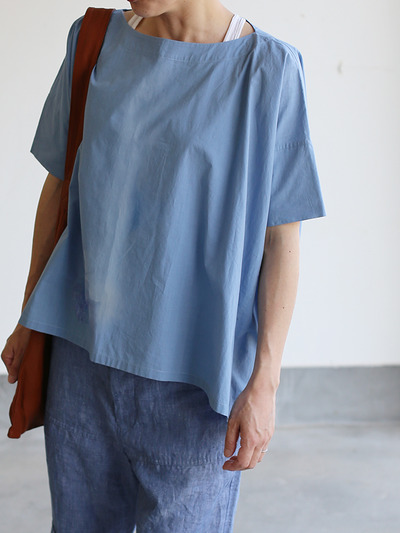 Short sleeve tent line blouse~natural dye cotton 4