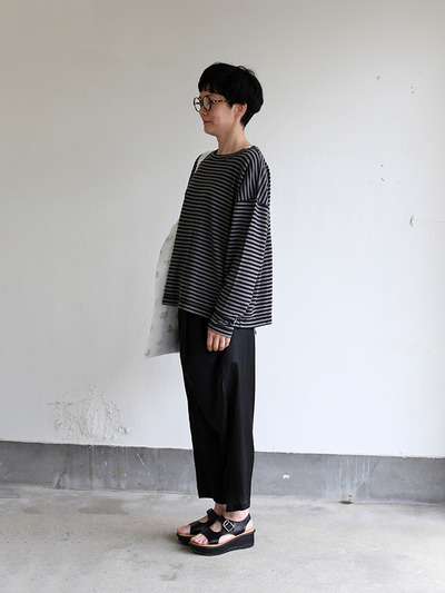 Loose fit long sleeve T-shirt~ponte border cotton 2