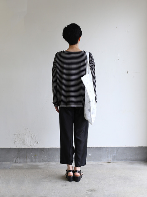 Loose fit long sleeve T-shirt~ponte border cotton 3