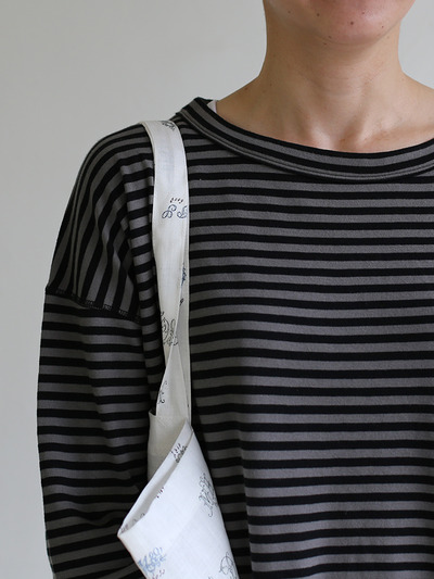 Loose fit long sleeve T-shirt~ponte border cotton 4