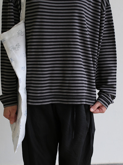 Loose fit long sleeve T-shirt~ponte border cotton 5