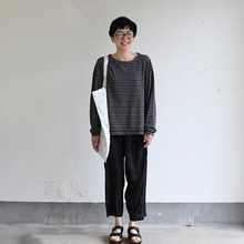 Loose fit long sleeve T-shirt~ponte border cotton