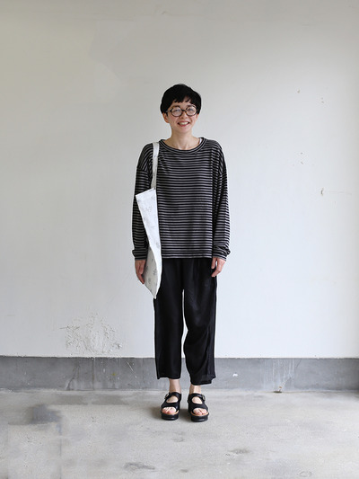 Loose fit long sleeve T-shirt~ponte border cotton 1