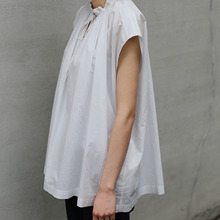 No sleeve string gather blouse~cotton