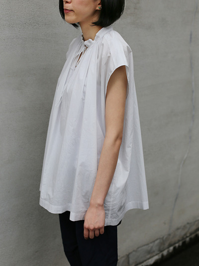 No sleeve string gather blouse~cotton 1