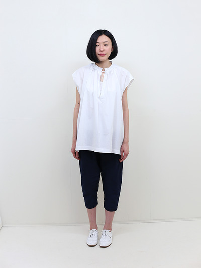 No sleeve string gather blouse~cotton 2