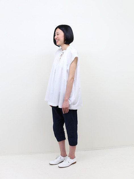 No sleeve string gather blouse~cotton 3