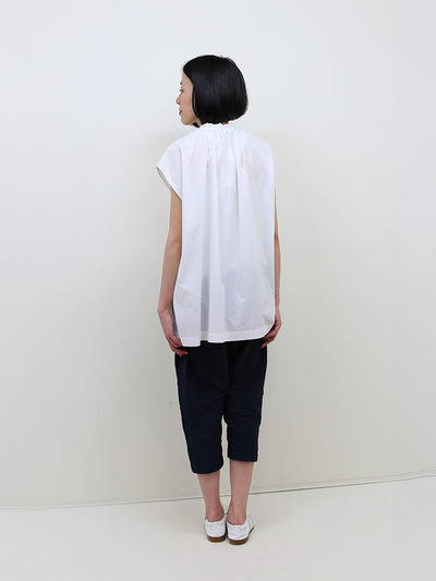 No sleeve string gather blouse~cotton 4