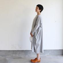 Boat neck long dress~cotton