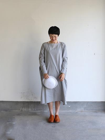 Boat neck long dress~cotton 2