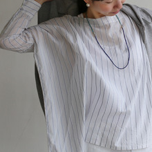 Boat neck big shirt~tape stripe cotton