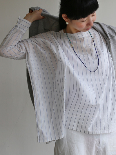 Boat neck big shirt~tape stripe cotton 1