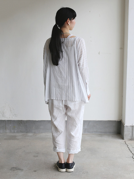 Boat neck big shirt~tape stripe cotton 4