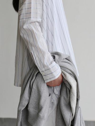 Boat neck big shirt~tape stripe cotton 5