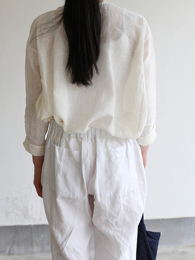 Back gum pajamas pants~linen 5