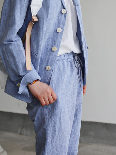 Men's easy tapered pants~cotton linen dungaree 4