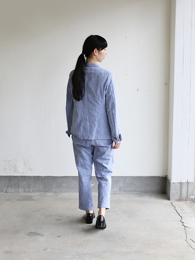 Men's easy tapered pants~cotton linen dungaree 5