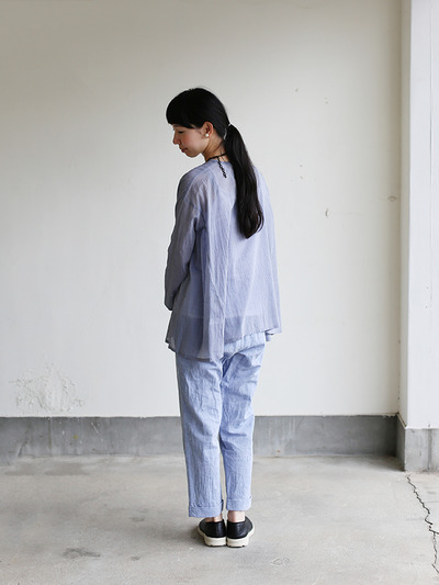 Side gather tent line blouse~cotton 4