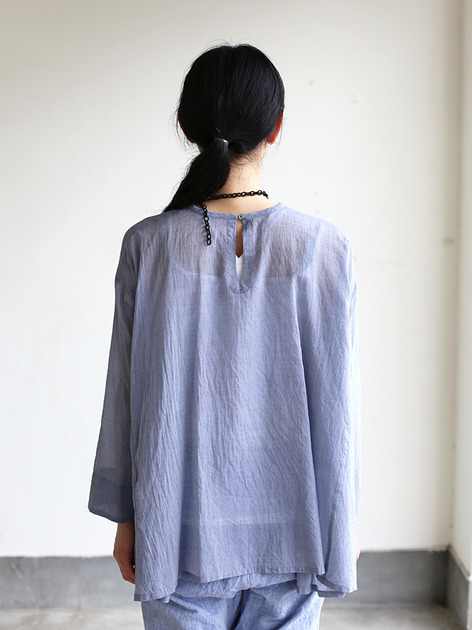 Side gather tent line blouse~cotton 5