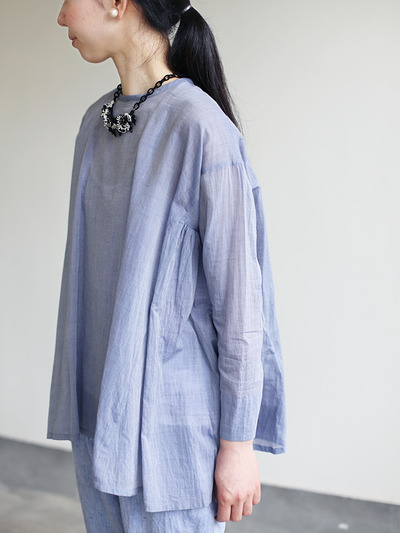 Side gather tent line blouse~cotton 1