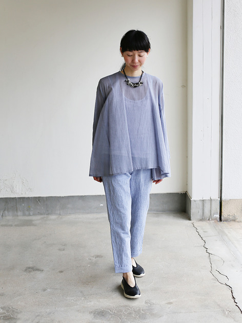Side gather tent line blouse~cotton 2