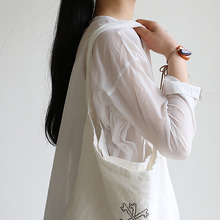 Side gather tent line blouse~cotton