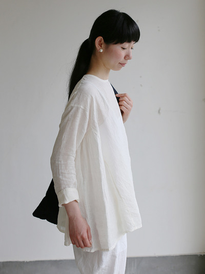 Side gather tent line blouse~linen 1