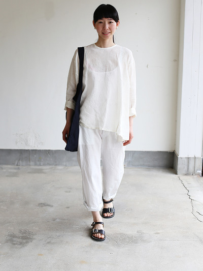 Side gather tent line blouse~linen 2