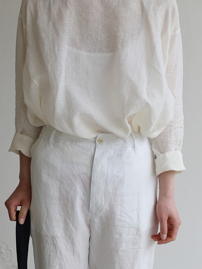 Side gather tent line blouse~linen 5