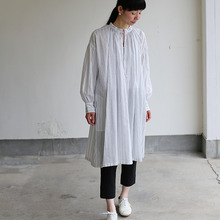 String long gather blouse~tape stripe cotton